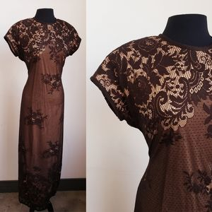 90s lace overlay maxi dress